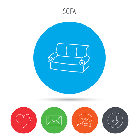 comfortable: Sofa icon. Comfortable couch sign. Furniture symbol. Mail, download and speech bubble buttons. Like symbol. Vector