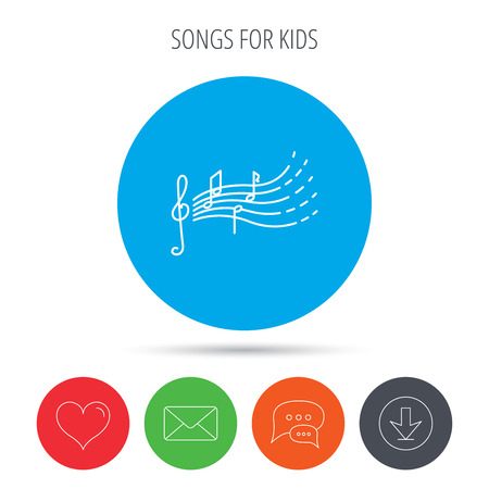 gclef: Songs for kids icon. Musical notes, melody sign. G-clef symbol. Mail, download and speech bubble buttons. Like symbol. Vector Illustration