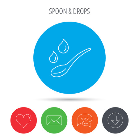 dose: Spoon with water drops icon. Baby medicine dose sign. Child food symbol. Mail, download and speech bubble buttons. Like symbol. Vector