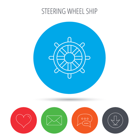 rudder ship: Ship steering wheel icon. Captain rudder sign. Sailing symbol. Mail, download and speech bubble buttons. Like symbol. Vector