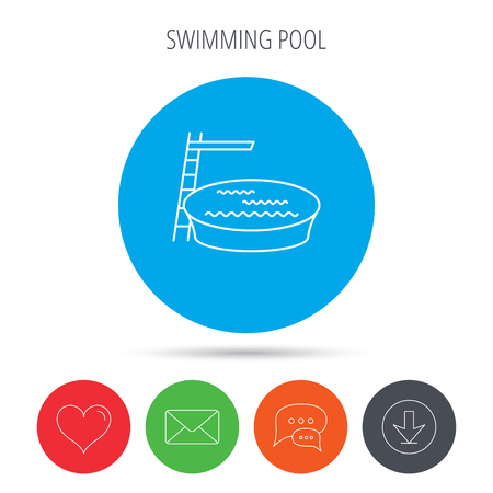 jumping into water: Swimming pool icon. Jumping into water sign. Mail, download and speech bubble buttons. Like symbol. Vector
