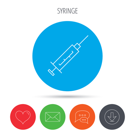 analyze: Syringe icon. Injection or vaccine instrument sign. Laboratory analyze symbol. Mail, download and speech bubble buttons. Like symbol. Vector Illustration