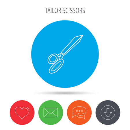 grooming: Tailor scissors icon. Hairdressing sign. Grooming symbol. Mail, download and speech bubble buttons. Like symbol. Vector