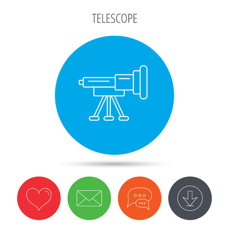 planetarium: Telescope icon. Spyglass sign. Astronomy magnify lens symbol. Mail, download and speech bubble buttons. Like symbol. Vector