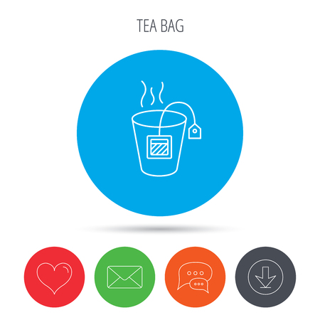 ceylon: Tea bag icon. Natural hot drink sign. Breakfast beverage symbol. Mail, download and speech bubble buttons. Like symbol. Vector