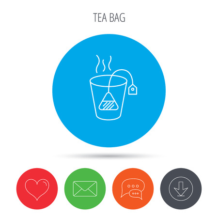 stimulant: Tea bag icon. Natural hot drink sign. Breakfast beverage symbol. Mail, download and speech bubble buttons. Like symbol. Vector