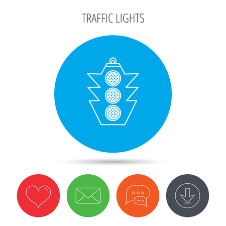 regulate: Traffic light icon. Safety direction regulate sign. Mail, download and speech bubble buttons. Like symbol. Vector