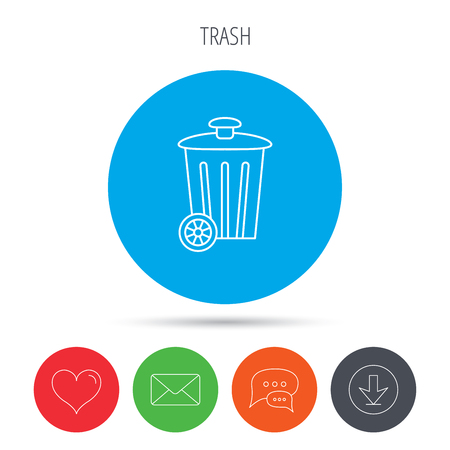trash container: Recycle bin icon. Trash container sign. Street rubbish symbol. Mail, download and speech bubble buttons. Like symbol. Vector