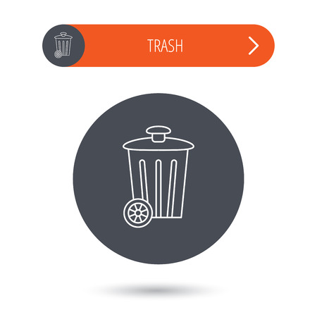 trash container: Recycle bin icon. Trash container sign. Street rubbish symbol. Gray flat circle button. Orange button with arrow. Vector