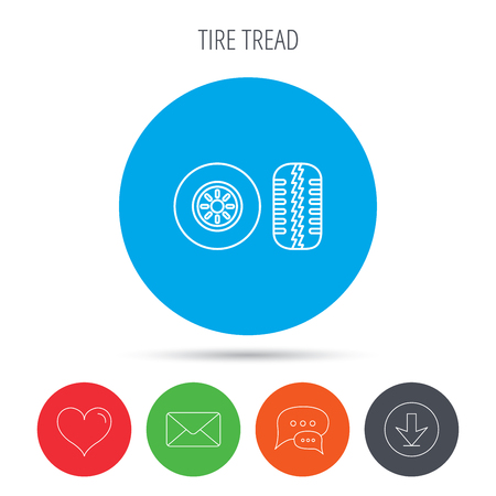 tread: Tire tread icon. Car wheel sign. Mail, download and speech bubble buttons. Like symbol. Vector