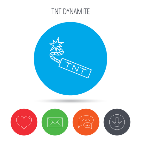 tnt: TNT dynamite icon. Bomb explosion sign. Mail, download and speech bubble buttons. Like symbol. Vector
