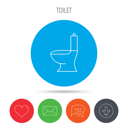 wc sign: Toilet icon. Public WC sign. Mail, download and speech bubble buttons. Like symbol. Vector