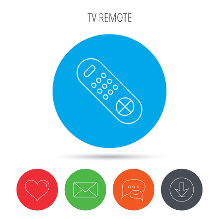 switching: Remote control icon. TV switching channels sign. Mail, download and speech bubble buttons. Like symbol. Vector