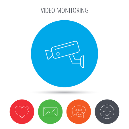 mail icon: Video monitoring icon. Camera cctv sign. Mail, download and speech bubble buttons. Like symbol. Vector