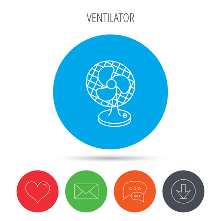 ventilator: Ventilator icon. Fan or propeller sign. Mail, download and speech bubble buttons. Like symbol. Vector Illustration
