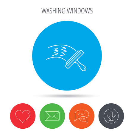 cleanness: Washing windows icon. Cleaning sign. Mail, download and speech bubble buttons. Like symbol. Vector Illustration