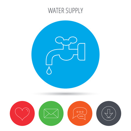 waterworks: Water supply icon. Crane or Faucet with drop sign. Mail, download and speech bubble buttons. Like symbol. Vector