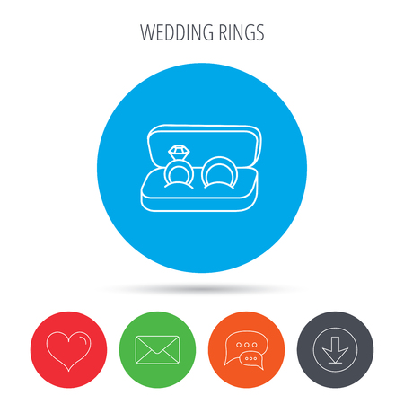 Wedding Rings Icon Jewelry With Diamond Sign Marriage Symbol