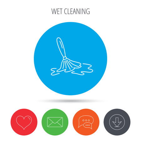 wet floor: Wet cleaning icon. Clean-up floor tool sign. Mail, download and speech bubble buttons. Like symbol. Vector