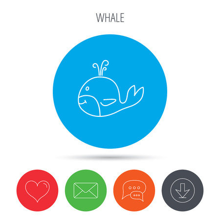 baleen: Whale icon. Largest mammal animal sign. Baleen whale with fountain symbol. Mail, download and speech bubble buttons. Like symbol. Vector
