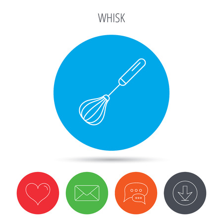 whisking: Whisk icon. Kitchen tool sign. Kitchenware whisking beater symbol. Mail, download and speech bubble buttons. Like symbol. Vector