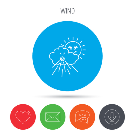 the tempest: Wind icon. Cloud with sun and storm sign. Strong wind or tempest symbol. Mail, download and speech bubble buttons. Like symbol. Vector