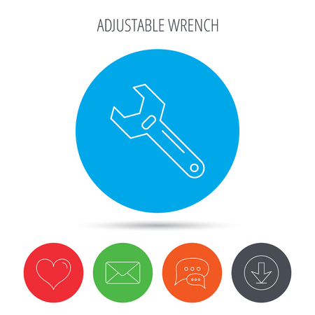 adjustable: Wrench key icon. Adjustable repair tool sign. Mail, download and speech bubble buttons. Like symbol. Vector