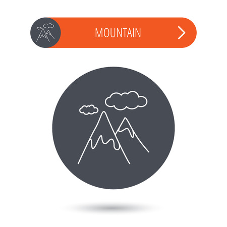 extreme terrain: Mountain icon. Hills and clouds sign. Climbing travel symbol. Gray flat circle button. Orange button with arrow. Vector Illustration