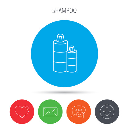 shampoo bottles: Shampoo bottles icon. Liquid soap sign. Mail, download and speech bubble buttons. Like symbol. Vector Illustration