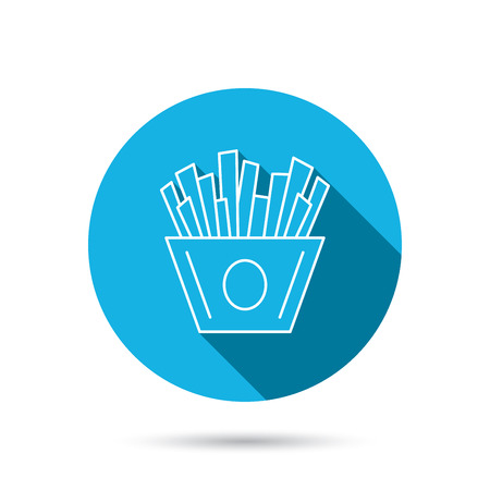 fried potatoes: Chips icon. Fries fast food sign. Fried potatoes symbol. Blue flat circle button with shadow. Vector
