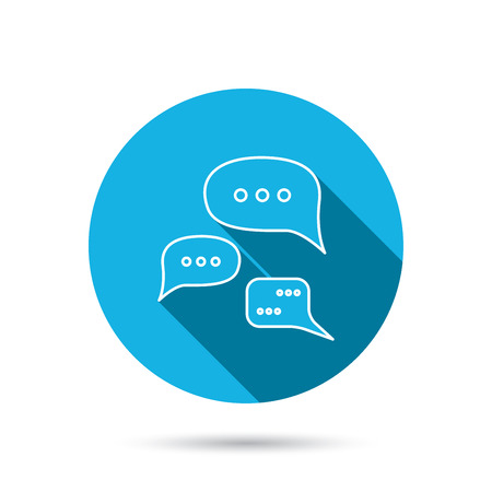 chat bubbles: Conversation icon. Chat speech bubbles sign. Communication clouds symbol. Blue flat circle button with shadow. Vector Illustration