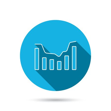 infochart: Dynamics icon. Statistic chart sign. Growth infochart symbol. Blue flat circle button with shadow. Vector
