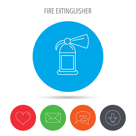 flame like: Fire extinguisher icon. Flame protection sign. Mail, download and speech bubble buttons. Like symbol. Vector Illustration