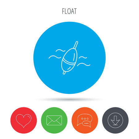fishing float: Fishing float icon. Bobber in waves sign. Angling symbol. Mail, download and speech bubble buttons. Like symbol. Vector