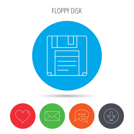 data archiving: Floppy disk icon. Retro data storage sign. Mail, download and speech bubble buttons. Like symbol. Vector Illustration