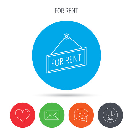 for rent: For rent icon. Advertising banner tag sign. Mail, download and speech bubble buttons. Like symbol. Vector