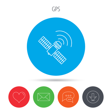satellite navigation: GPS icon. Satellite navigation sign. Mail, download and speech bubble buttons. Like symbol. Vector
