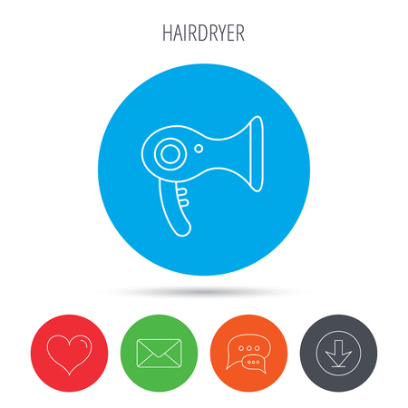air diffuser: Hairdryer icon. Electronic blowdryer sign. Hairdresser equipment symbol. Mail, download and speech bubble buttons. Like symbol. Vector