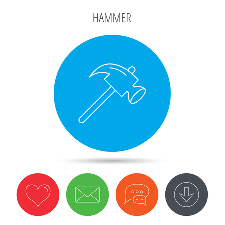 mat�riel chantier: Hammer icon. Repair or fix sign. Construction equipment tool symbol. Mail, download and speech bubble buttons. Like symbol. Vector
