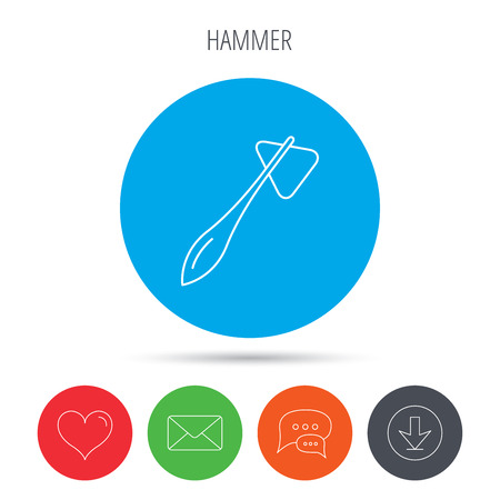 neurologist: Reflex hammer icon. Doctor medical equipment sign. Nervous therapy tool symbol. Mail, download and speech bubble buttons. Like symbol. Vector