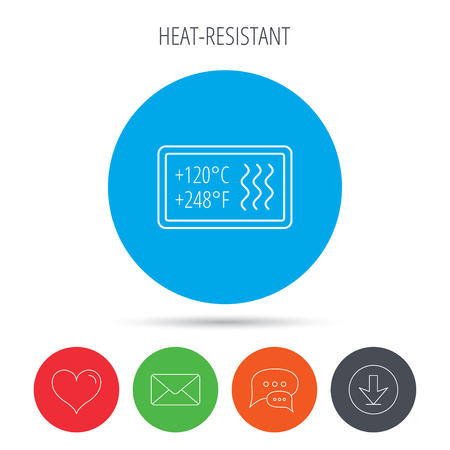 resistant: Heat resistant icon. Microwave or dishwasher information sign. Attention symbol. Mail, download and speech bubble buttons. Like symbol. Vector