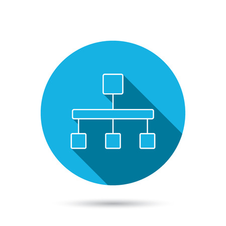 Hierarchy icon. Organization chart sign. Database symbol. Blue flat circle button with shadow. Vector