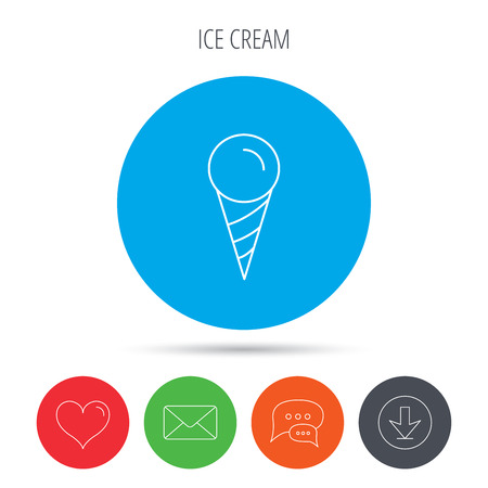 frozen dessert: Ice cream icon. Sweet dessert in waffle cone sign. Frozen food symbol. Mail, download and speech bubble buttons. Like symbol. Vector Illustration