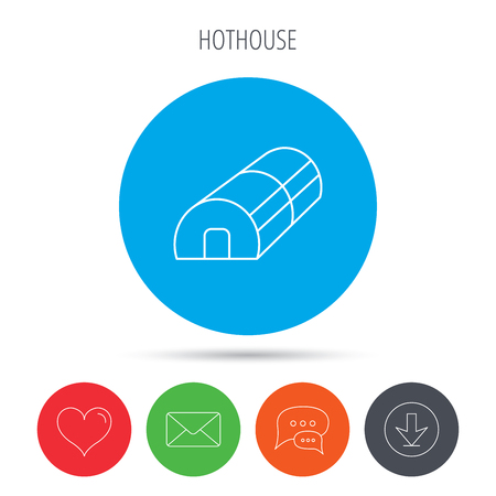warm house: Greenhouse complex icon. Hothouse building sign. Warm house symbol. Mail, download and speech bubble buttons. Like symbol. Vector