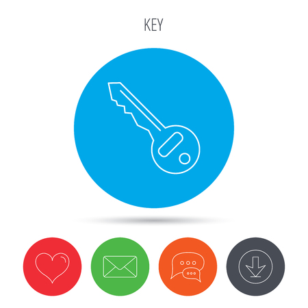 tool unlock: Key icon. Door unlock tool sign. Mail, download and speech bubble buttons. Like symbol. Vector Illustration