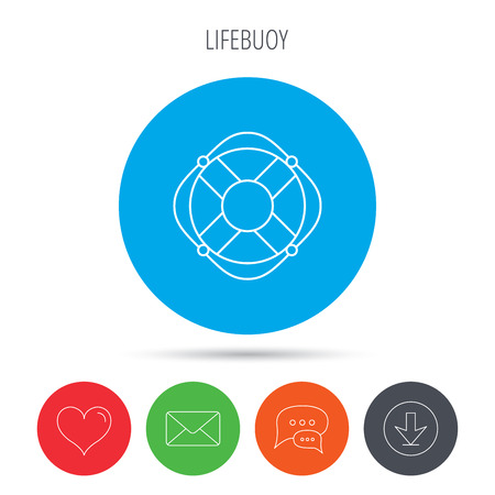 lifesaver: Lifebuoy with rope icon. Lifebelt sos sign. Lifesaver help equipment symbol. Mail, download and speech bubble buttons. Like symbol. Vector