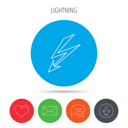 lightening: Lightening bolt icon. Power supply sign. Electricity symbol. Mail, download and speech bubble buttons. Like symbol. Vector
