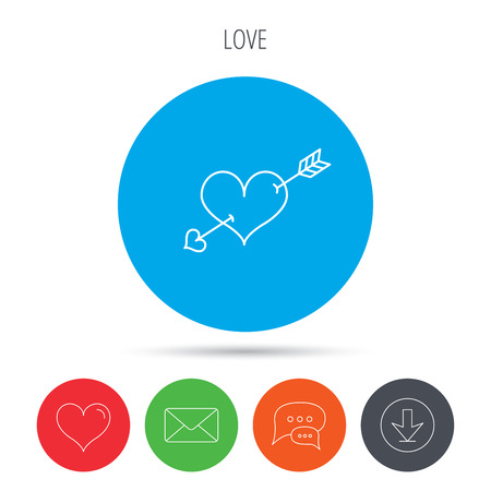 amour: Love heart icon. Amour arrow sign. Mail, download and speech bubble buttons. Like symbol. Vector Illustration