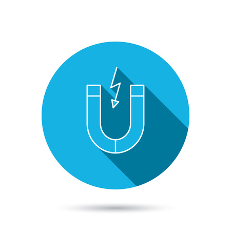 electromagnetic field: Magnet icon. Magnetic power sign. Physics symbol. Blue flat circle button with shadow. Vector