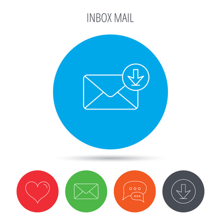 inbox icon: Mail inbox icon. Email message sign. Download arrow symbol. Mail, download and speech bubble buttons. Like symbol. Vector